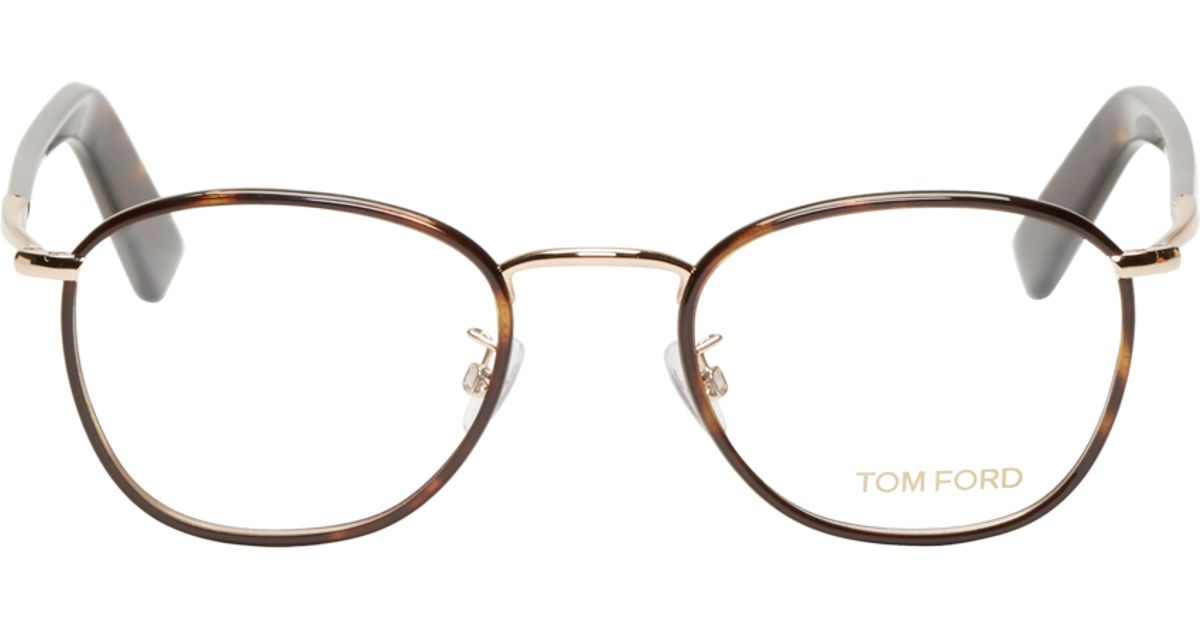 d86cb0a558 Tom Ford Brown Round Tortoiseshell Tf5333 Optical Glasses in Brown for Men  - Lyst