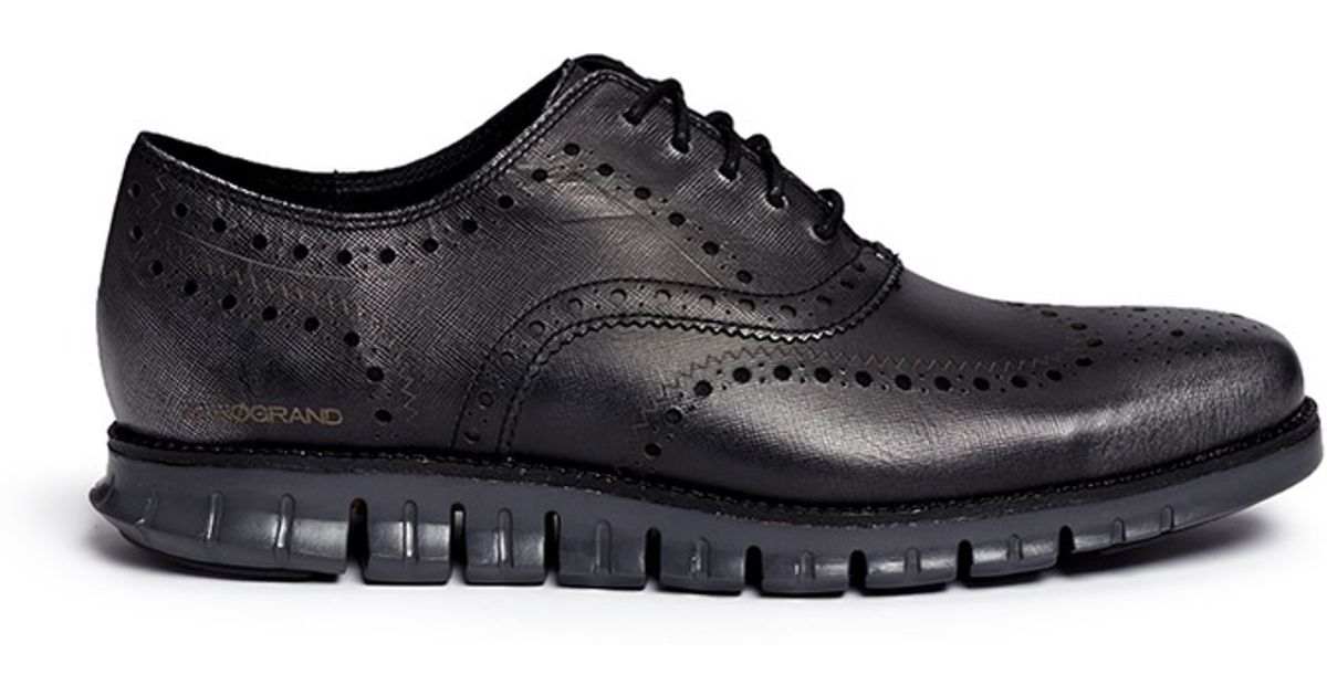 9f13b10cb56b60 Lyst - Cole Haan  zerogrand  Wingtip Brogue Saffiano Leather Oxfords in  Black for Men