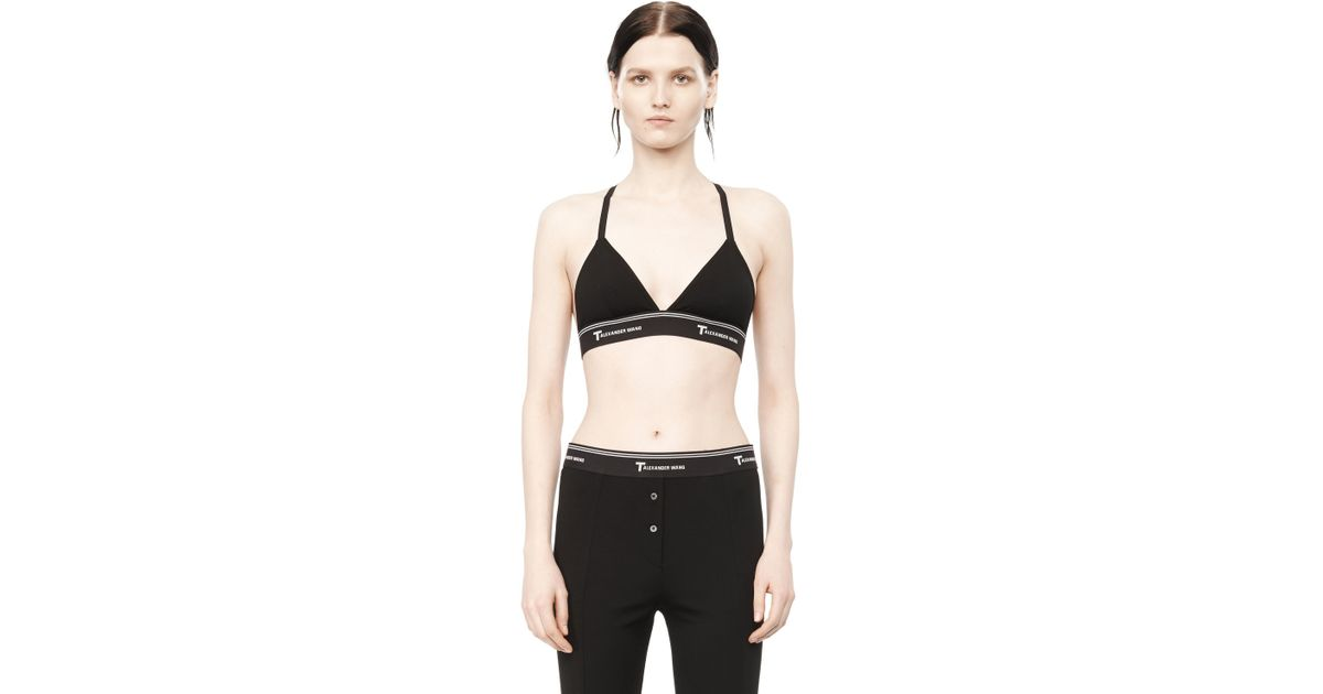 T by alexander wang Lux Ponte Triangle Bra in Black