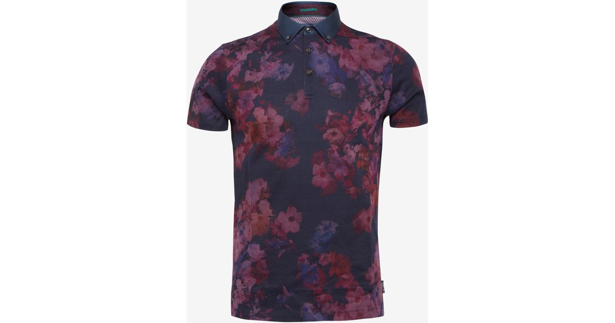 e71a5976941e5a Ted Baker Digital Floral Printed T-shirt in Purple for Men - Lyst