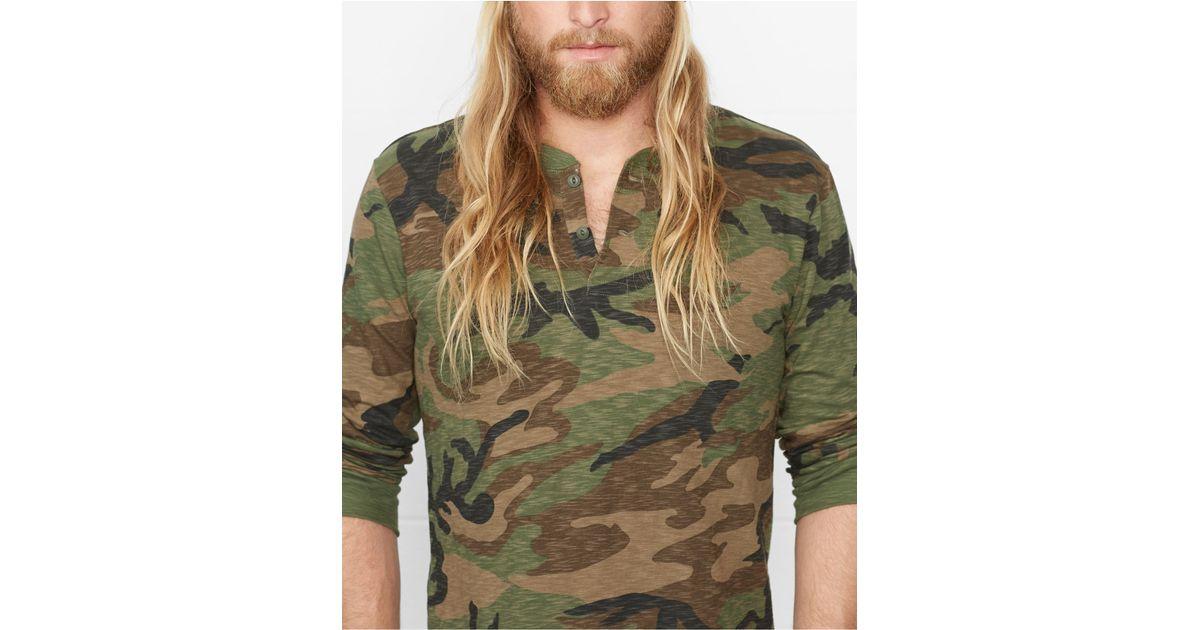 c84e1f50 Denim & Supply Ralph Lauren Camo Slub-Cotton Henley Shirt in Green for Men  - Lyst
