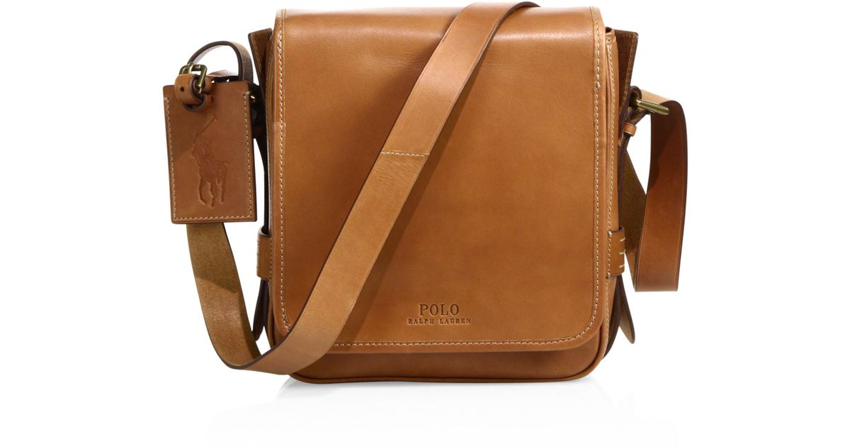 238c9ead8477 Lyst - Polo Ralph Lauren Compact Leather Messenger Bag in Brown for Men