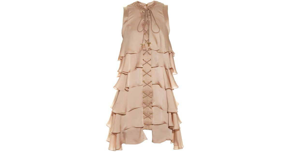 1d2e52a0 Balmain Lace-up Ruffled Silk Dress in Natural - Lyst