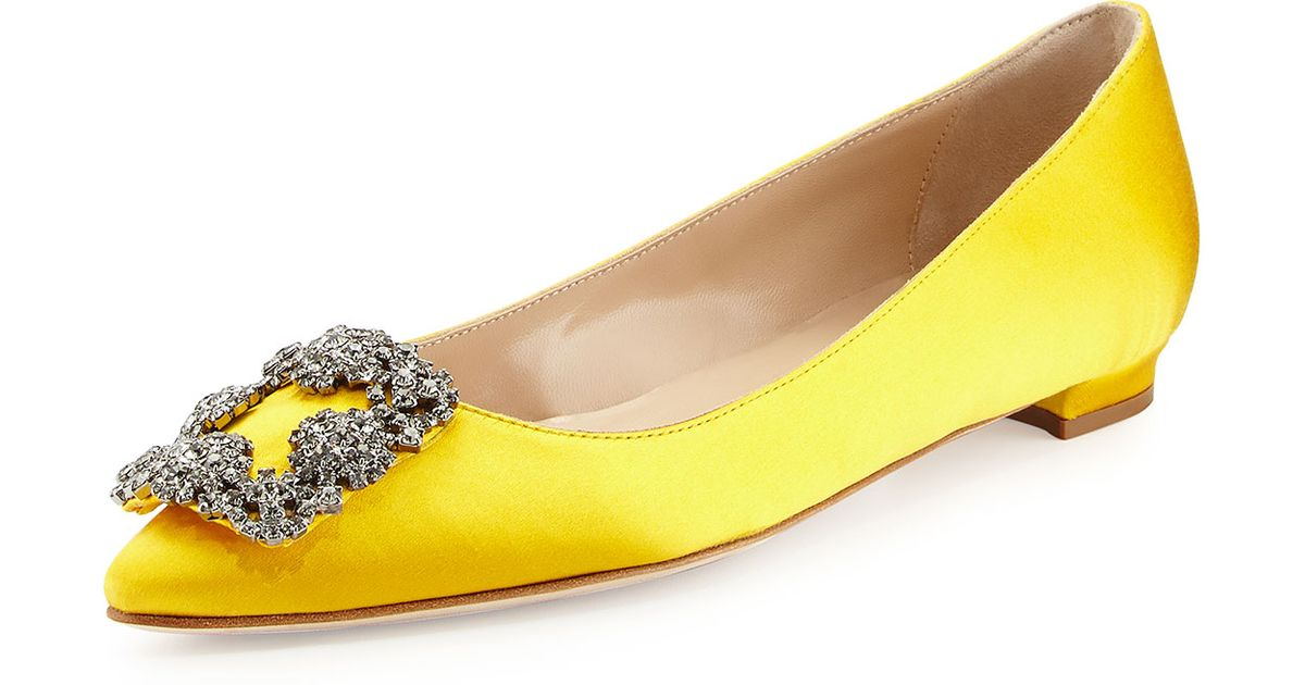 5c843a48df9e australia manolo blahnik hangisi embellished flats 3a5b2 4ac35  wholesale manolo  blahnik yellow hangisi crystal buckle satin flat lyst ce2d3 e3efe