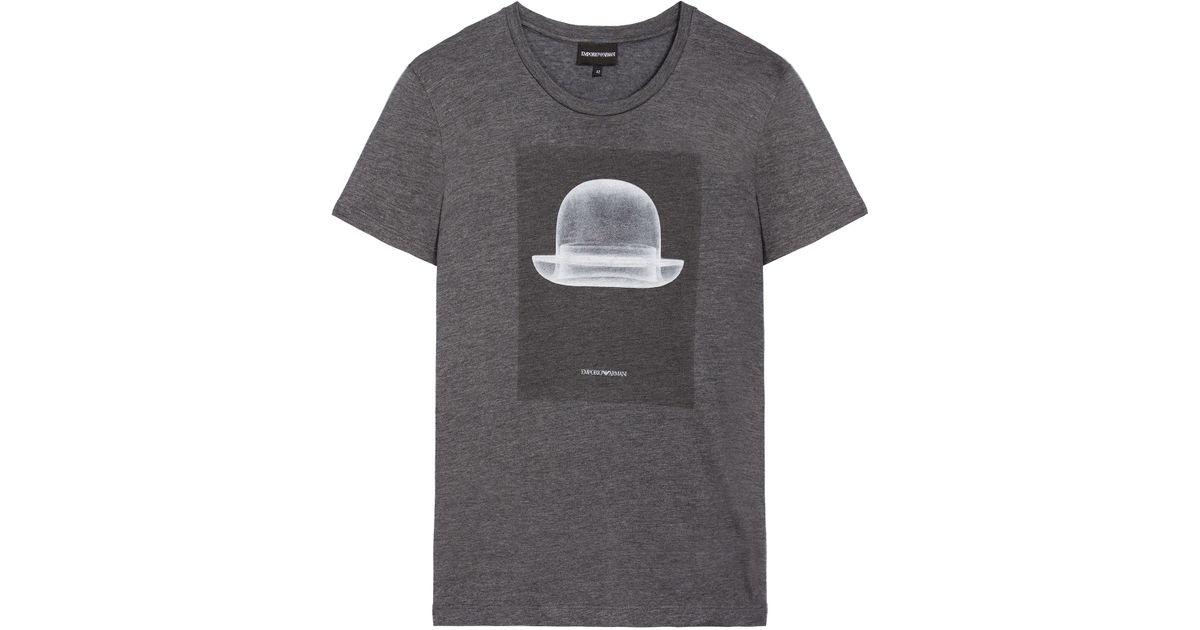 emporio armani print t shirt in gray lyst. Black Bedroom Furniture Sets. Home Design Ideas