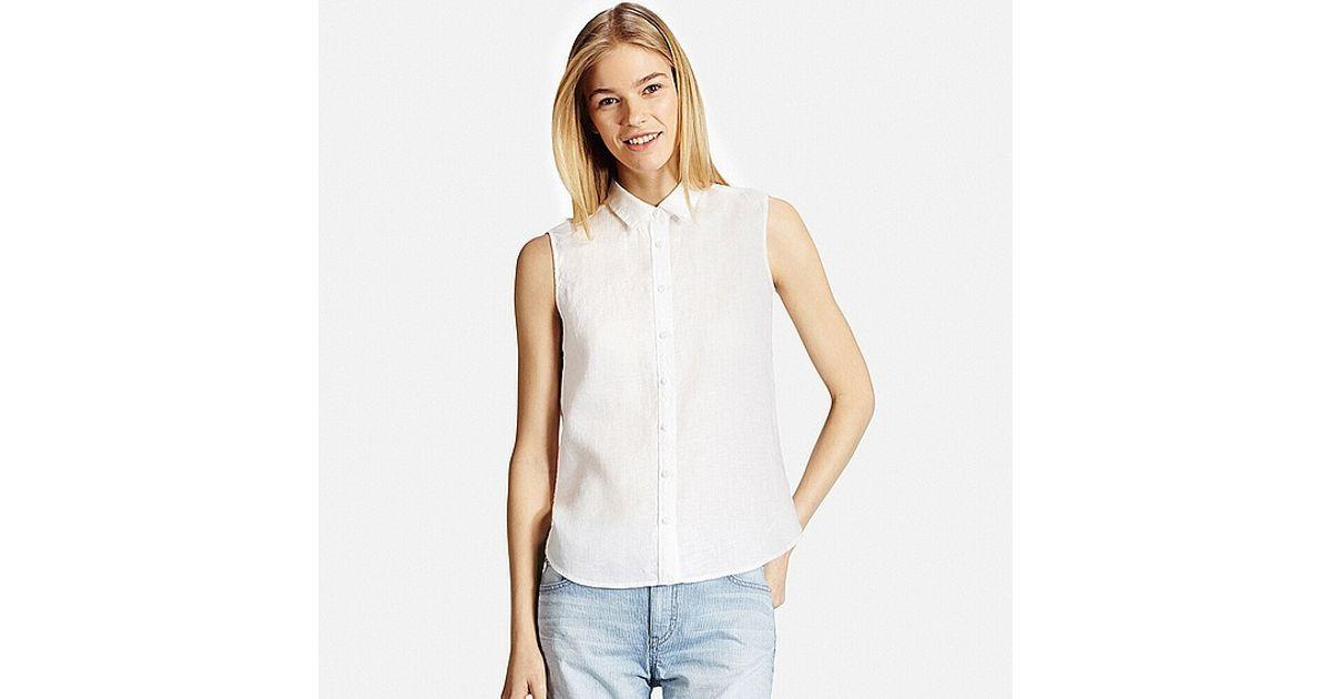 Uniqlo premium linen sleeveless shirt in white lyst for Uniqlo premium t shirt
