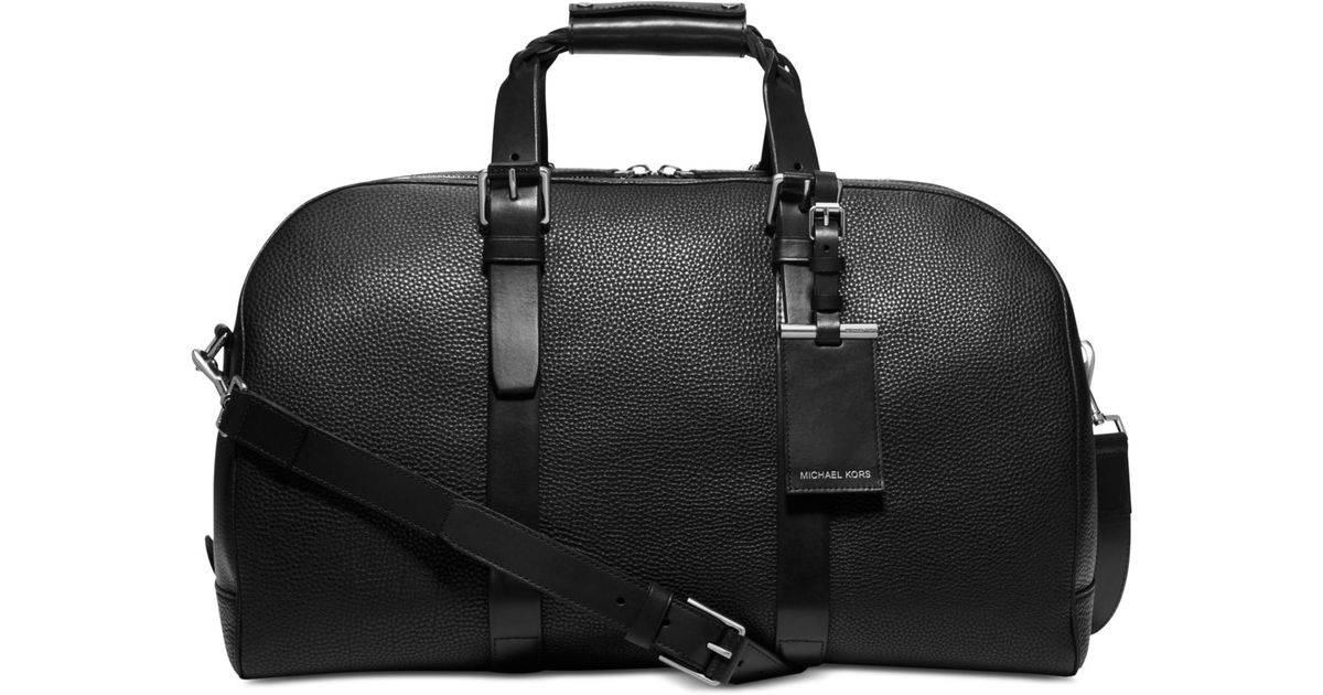 8be5a96a2a5e0 Lyst - Michael Kors Bennett Pebbled-Leather Braided-Handle Duffel in Black  for Men