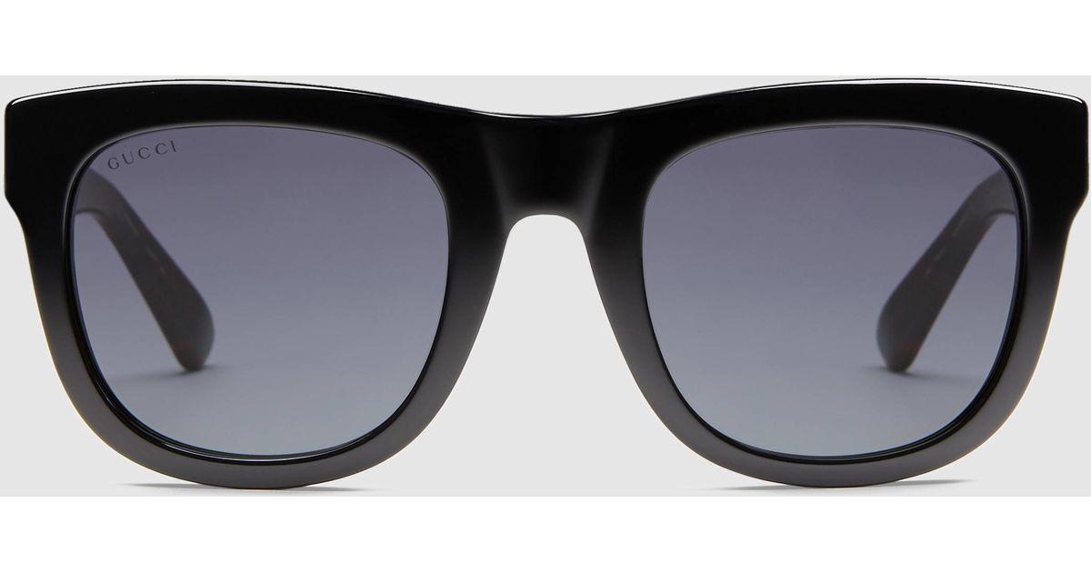 955118aff7 Lyst - Gucci Acetate Rectangle Sunglasses in Black for Men