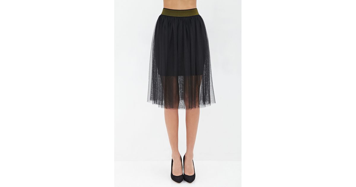 forever 21 contemporary layered tulle midi skirt in black