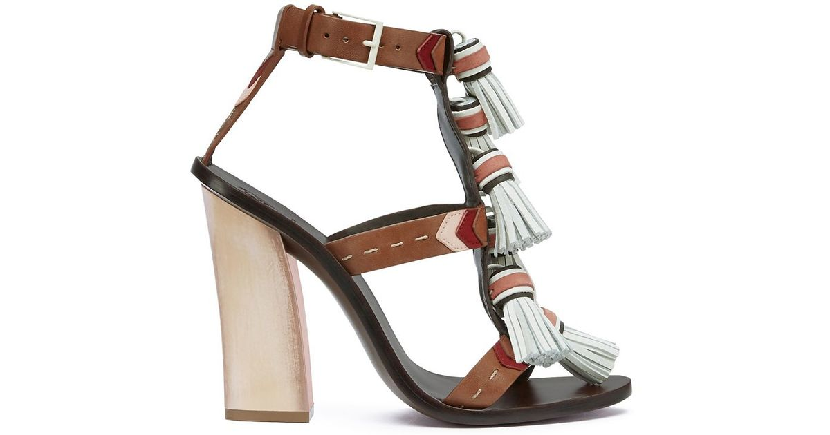 fa5dda7e9a4155 Lyst - Tory Burch Weaver Tassel Sandal in Brown