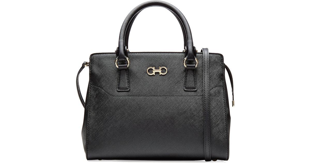 507502f5ab48 Ferragamo Leather Becky Handbag - Black in Metallic - Lyst