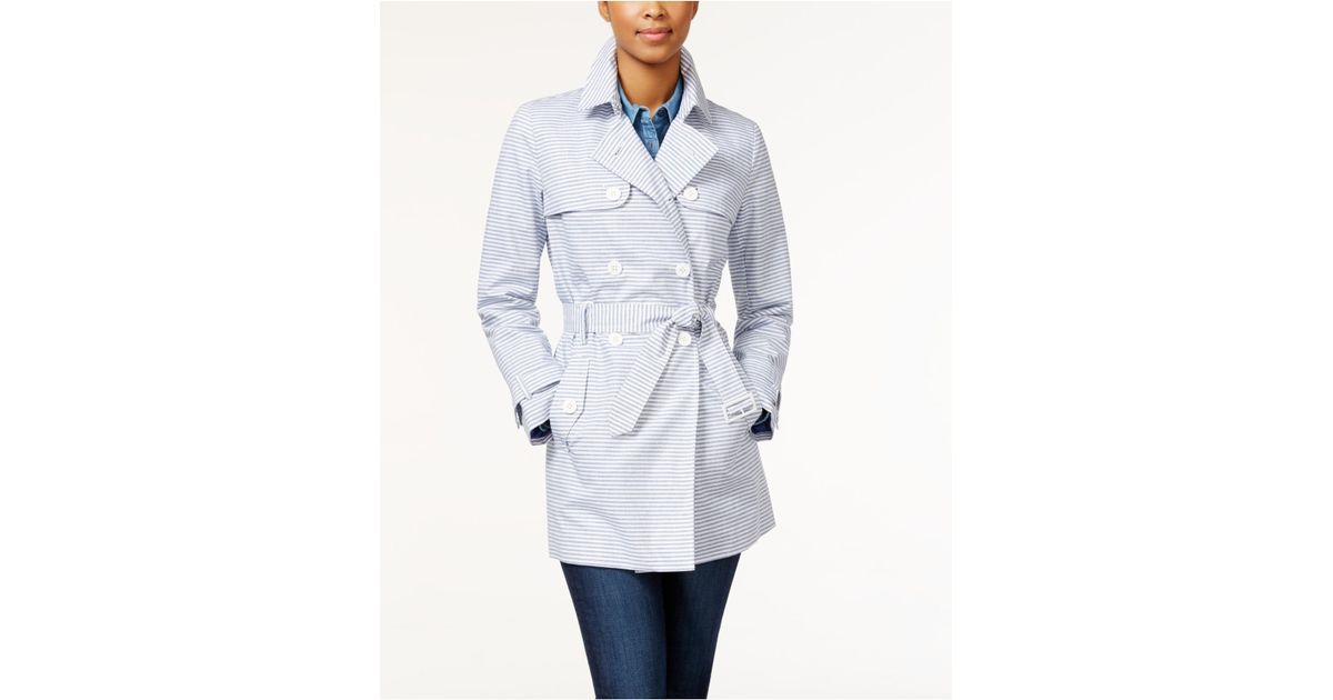 tommy hilfiger belted oxford striped trench coat in blue. Black Bedroom Furniture Sets. Home Design Ideas