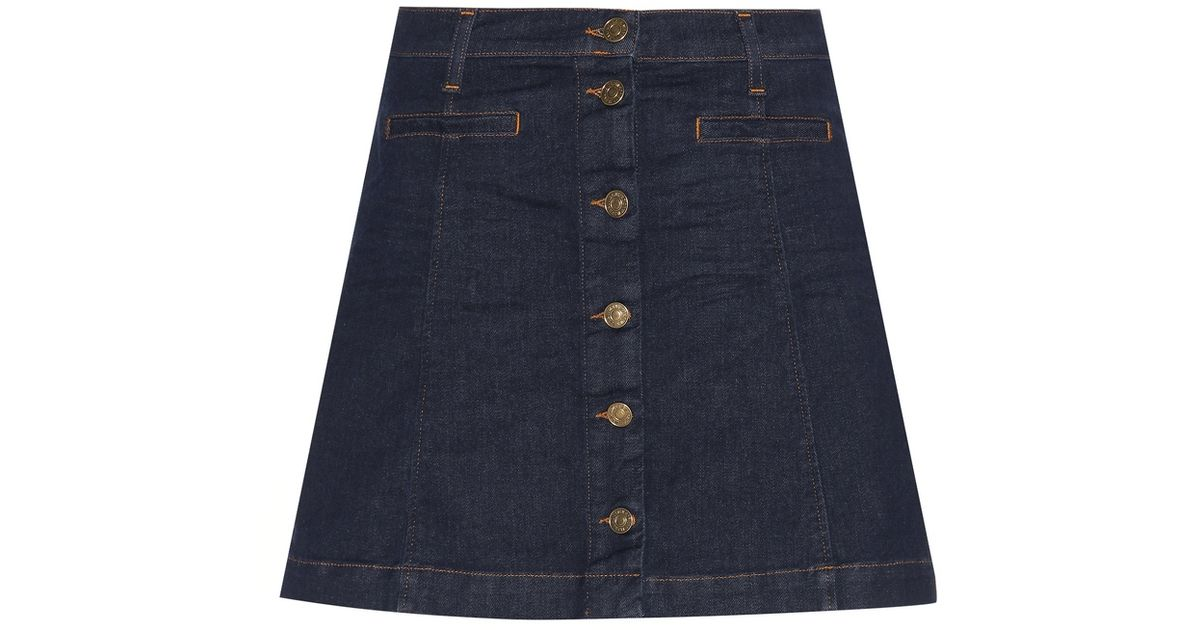7 for all mankind denim skirt in blue lyst