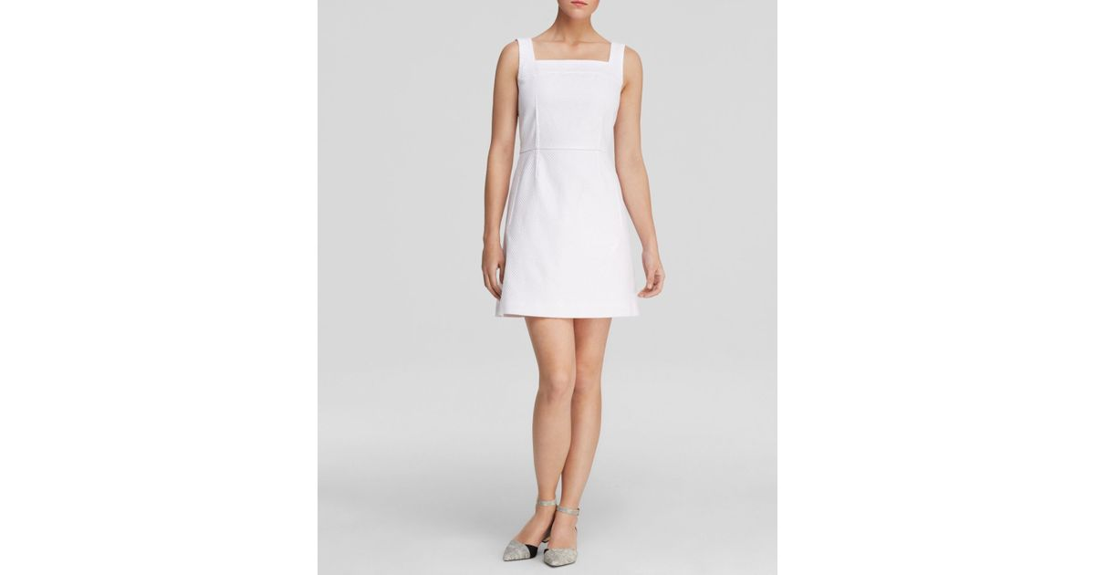 fb07e640a53 Lyst - Tory Burch Square Neck Dress in White