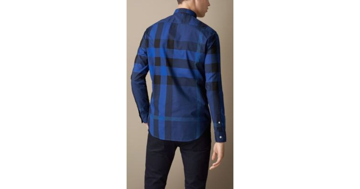 eeb28fea49ea Lyst - Burberry Giant Exploded Check Cotton Shirt in Blue for Men