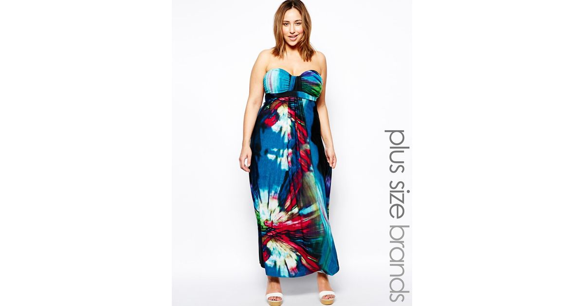 Lyst Ax Paris Plus Size Tropical Print Maxi Dress In Blue