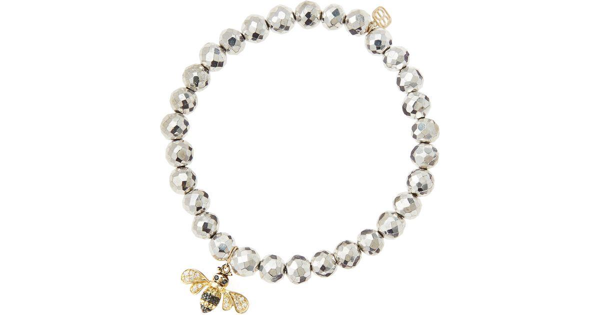 Sydney Evan 8mm Pyrite Beaded Bracelet w/ 14k Diamond Ball Charm mU5DugS