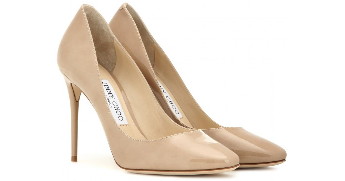 353009cf6c9 Lyst - Jimmy Choo Esme 100 Patent-Leather Pumps in Natural