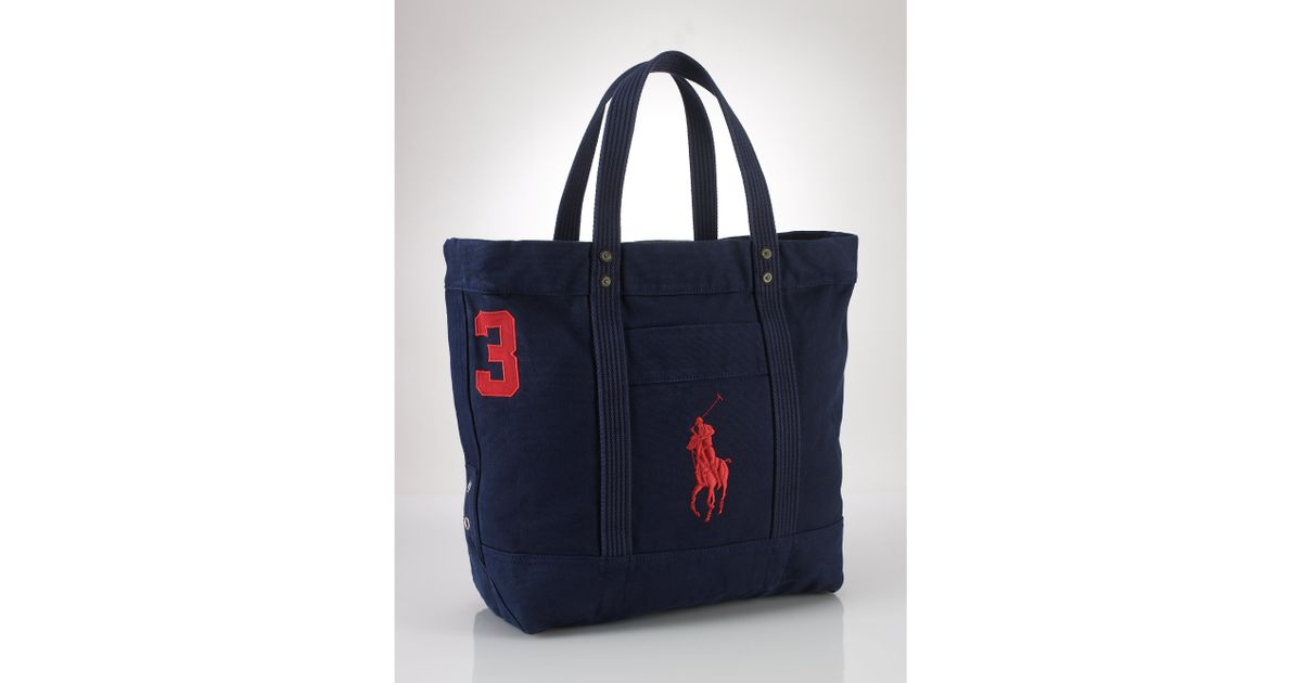 e21502bdef27 Lyst - Polo Ralph Lauren Big Pony Canvas Tote in Blue
