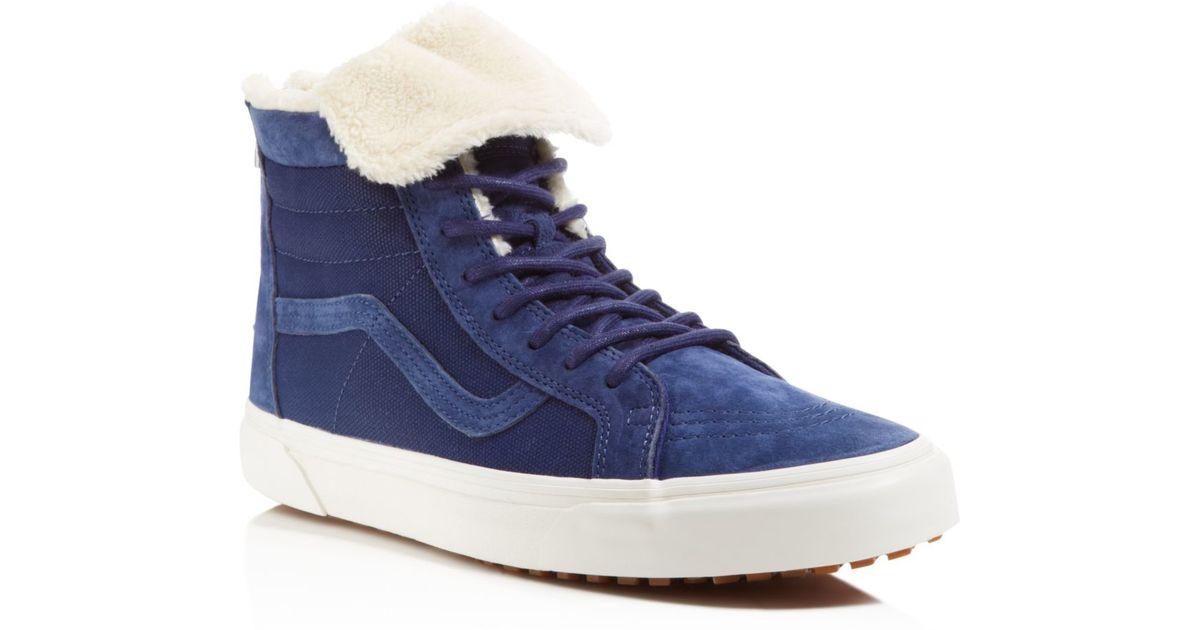Lyst - Vans Sk8-hi Zip Mte Ca Fleece Sneakers in Blue for Men b59a5274c