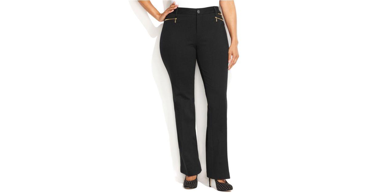 305775ee17 INC International Concepts Plus Size Zipper-Pocket Bootcut Pants in Black -  Lyst