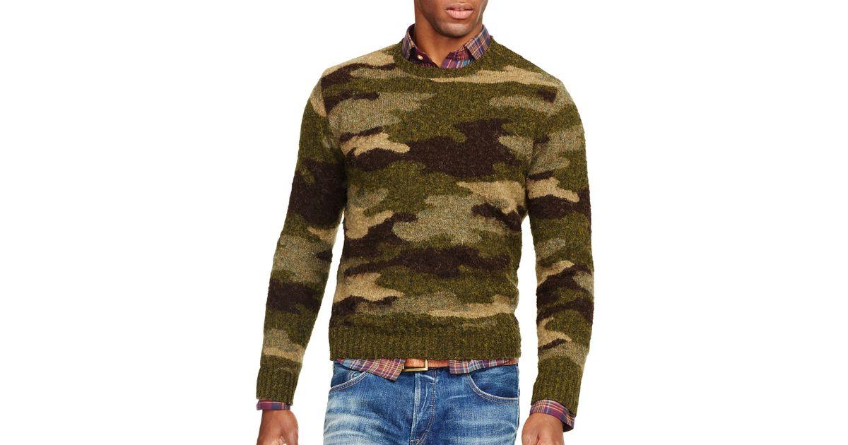 99dec665d Ralph Lauren Polo Camo Crewneck Sweater in Green for Men - Lyst