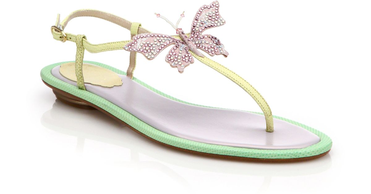 RENé CAOVILLA Embellished leather thong sandals 0wS8GATy