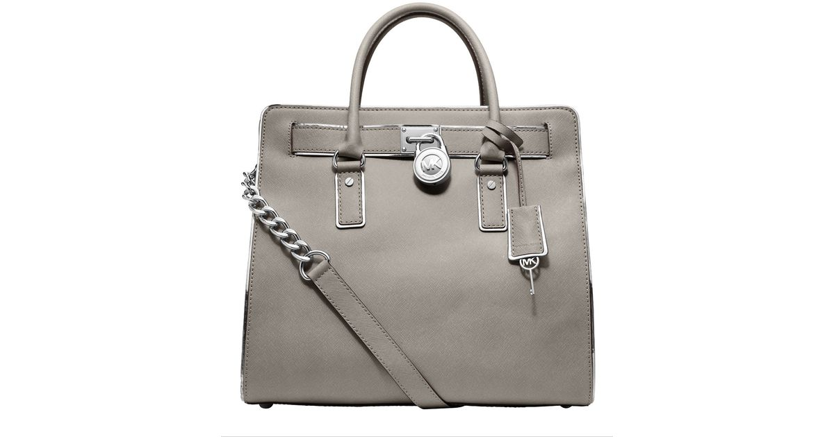 18acd997fe94 MICHAEL Michael Kors Hamilton Specchio Leather Large Northsouth Tote Bag in  Gray - Lyst