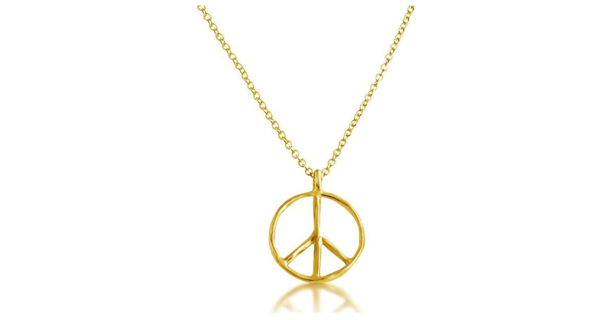 Lyst belcho small peace symbol pendant necklace in metallic aloadofball Images