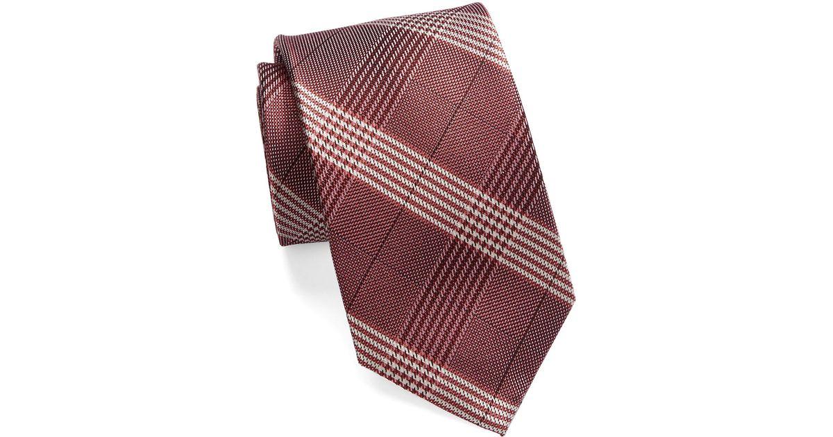 william rast glen plaid silk tie in purple for