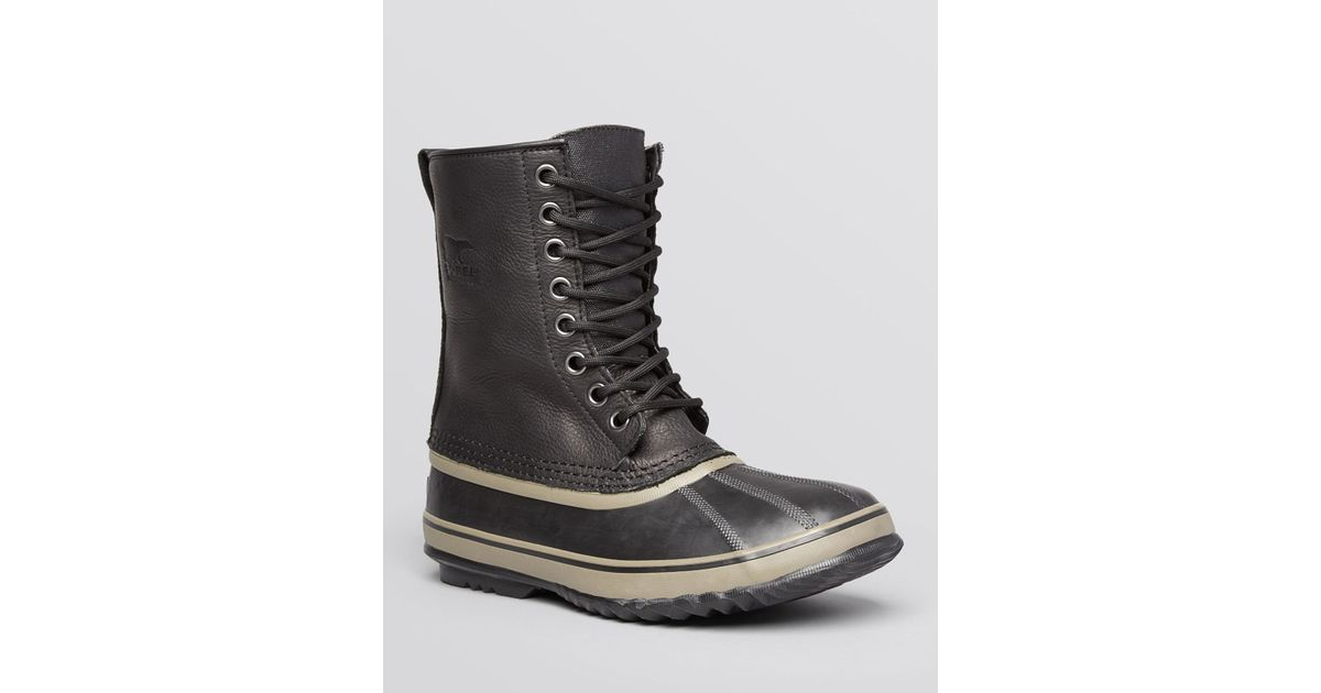 sorel 1964 premium waterproof leather boots in black for