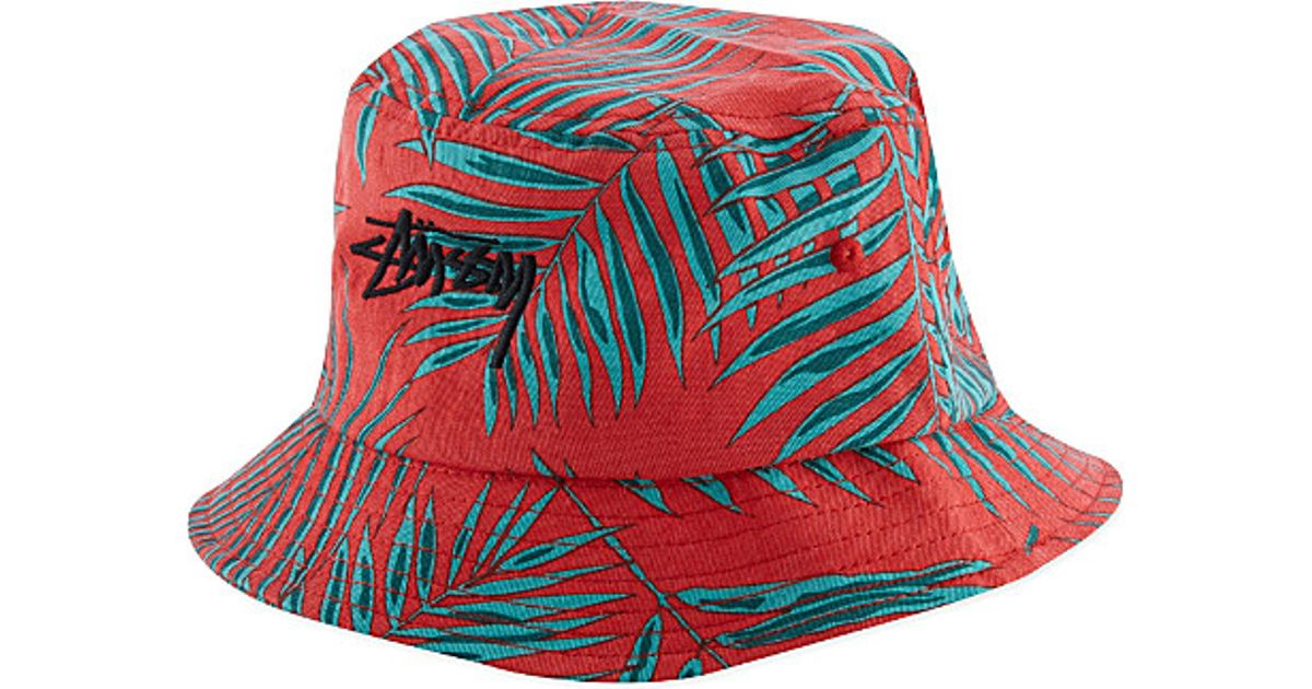 54aab2fa503 Stussy Palm Bucket Hat - For Men in Red for Men - Lyst