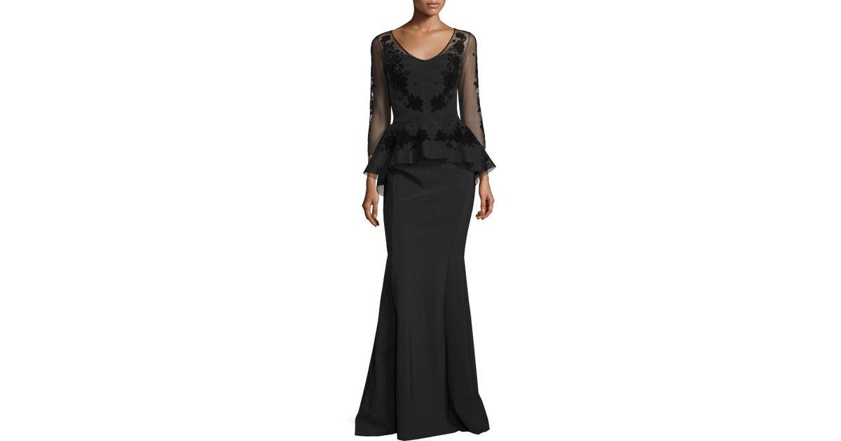 7c88d84a74acf La Petite Robe Di Chiara Boni Arlene 3/4-sleeve Peplum Mermaid Gown in  Black - Lyst