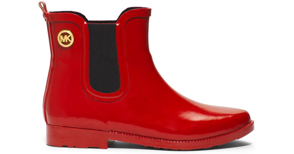 Michael kors Short Rubber Rain Boot in Red | Lyst