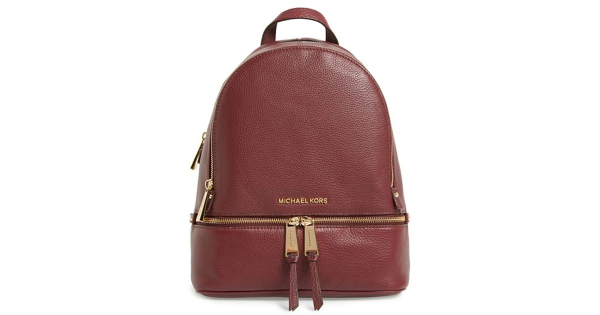 Lyst - Michael Michael Kors small Rhea Zip Leather Backpack - Burgundy in  Red ... 1182466d83