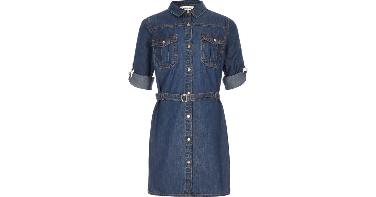 529a259a7c3c River Island Girls Mid Wash Denim Shirt Dress in Blue - Lyst