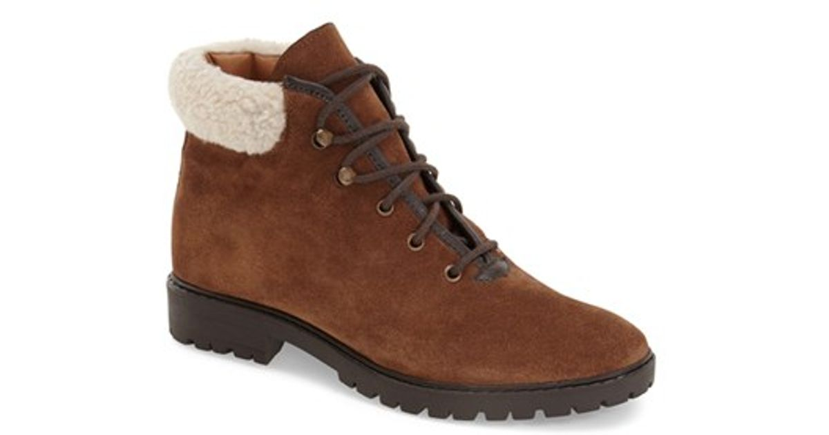 topshop faux fur trimmed suede ankle boots in brown lyst