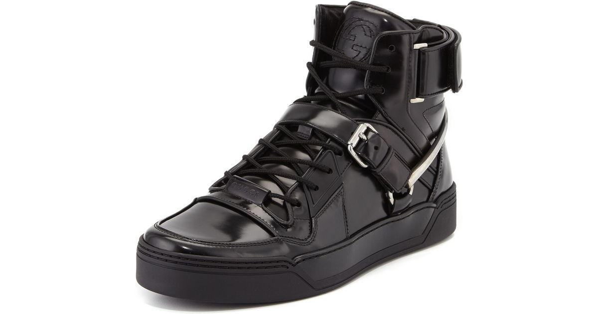 0503fe3a3bad Lyst - Gucci Spur Tennis Leather High-top Sneaker With Horsebit in Black  for Men