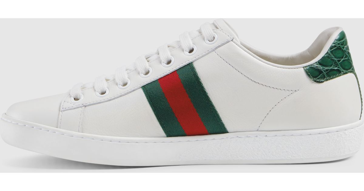 ecdac7cb28c Lyst - Gucci Leather Sneaker With Web Detail in Green