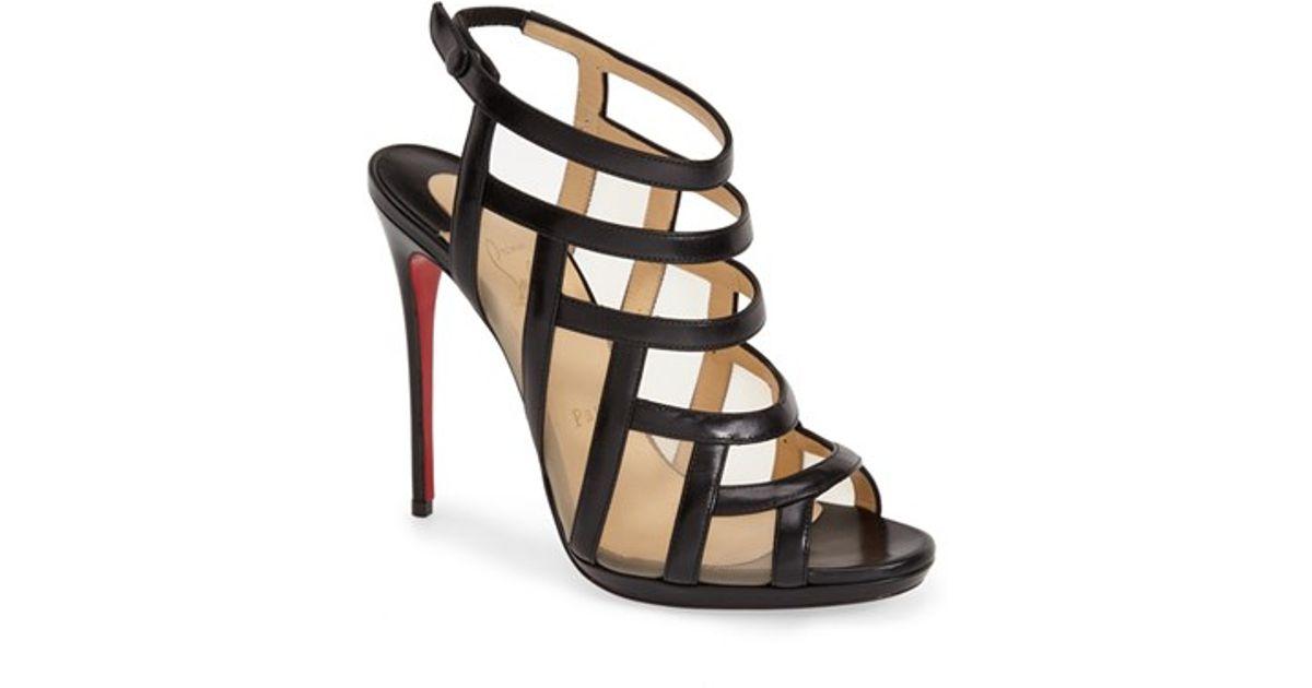 Christian louboutin \u0026#39;Nicole K\u0026#39; Caged Sandal in Black (BLACK ...
