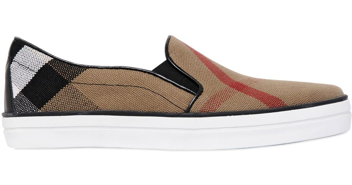 Great Deals Online Clearance Best Sale Burberry Gauden check leather-trimmed slip-on sneakers Outlet Big Sale Discount Choice 100% Original For Sale b6oMm8ih4N