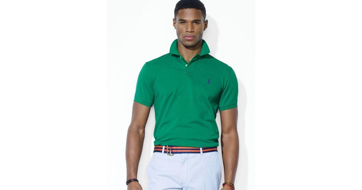 Ralph lauren Polo Customfit Stretchmesh Polo Shirt in Green for Men | Lyst