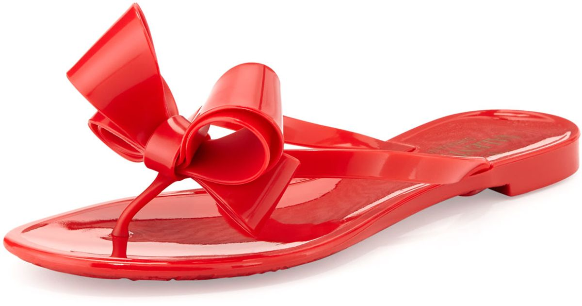 caa72e461b4b0 Valentino Couture Bow Jelly Flat Thong Sandal in Red - Lyst