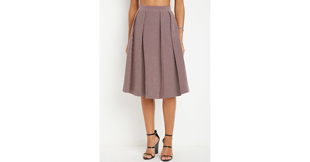 Forever 21 Contemporary Micro Grid Pleated A Line Skirt In