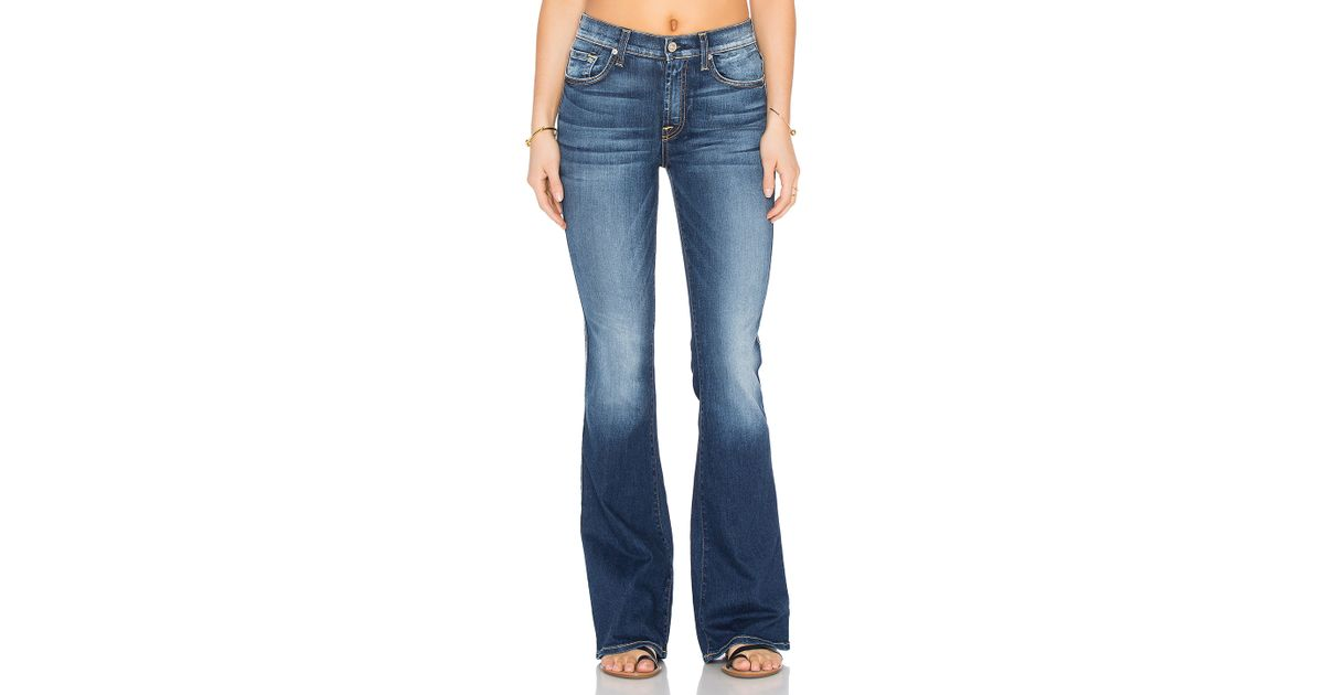 b68d30b908ae Lyst - 7 For All Mankind High Waist Vintage Bootcut in Blue