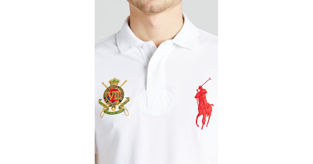 c11ab8cdd34848 Polo Ralph Lauren Emblem And Logo Slim Fit Polo Shirt In White For