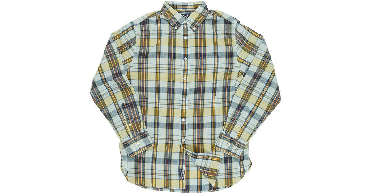 Grayers belmont slub madras plaid sportshirt in blue for for Blue and yellow plaid dress shirt