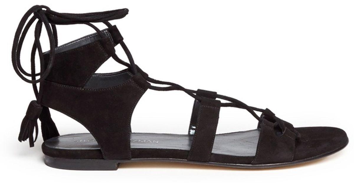 Stuart Weitzman Roman Flat Suede Gladiator Sandals In