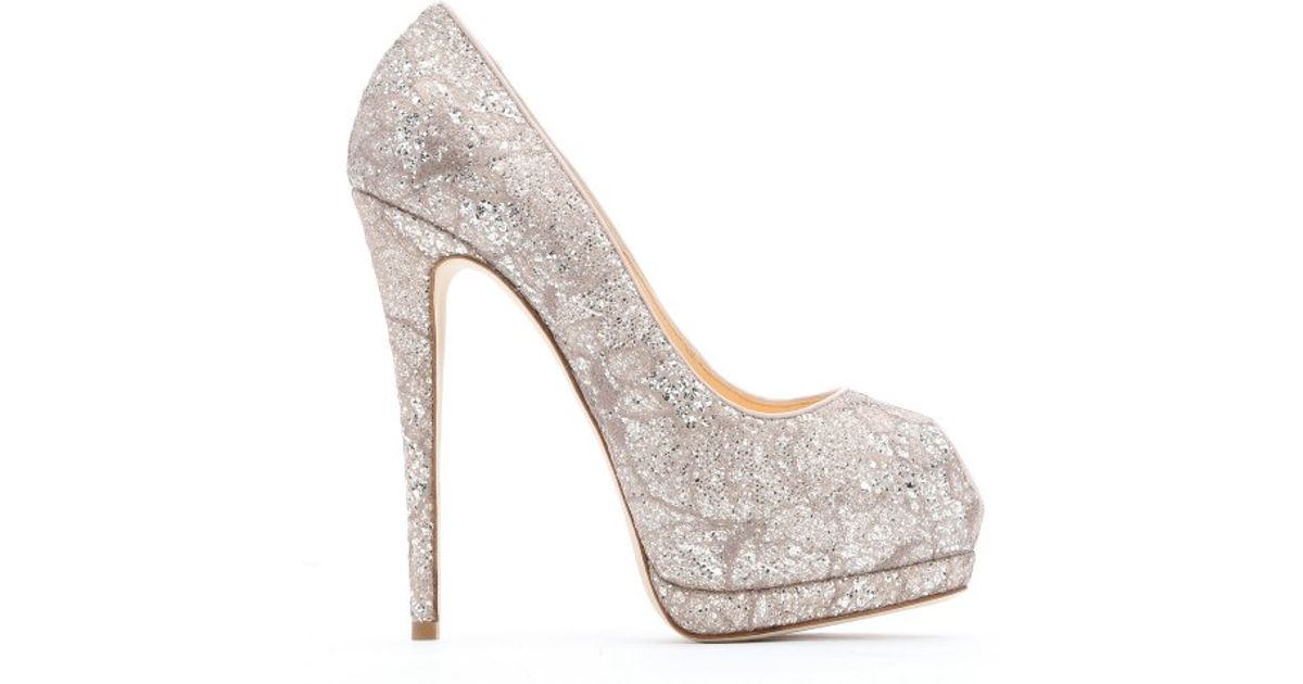 7a450be3d13f ... low price lyst giuseppe zanotti pale pink glittered lace sharon peep  toe pumps in metallic 495b8