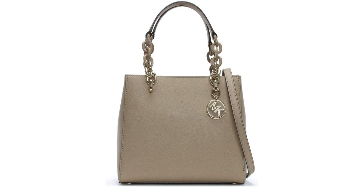 18a75a614131 ... france michael kors small cynthia north south truffle leather satchel  bag in brown lyst 4ded3 ad720